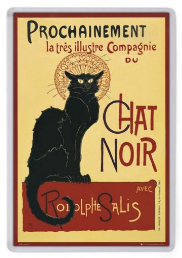 Le Chat Noir Fridge Magnet. Classic French Poster Art